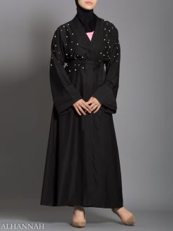 Sort Abaya med Pearl Accents