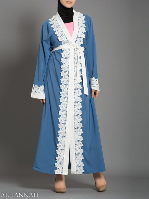 Power Blue Lace Abaya AB735