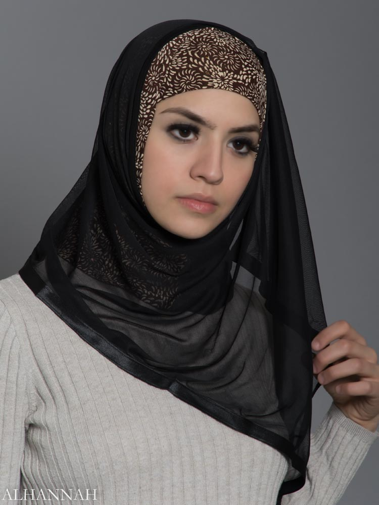 Sunflower Swirls Kuwait Wrap Hijab hi2180 vorne