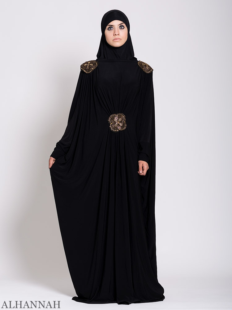 Black Beaded Kaftan Abaya | xz-AB756