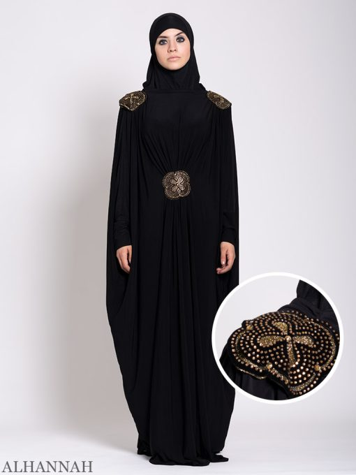 Black Beaded Kaftan Abaya