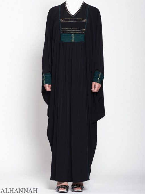 Sort-Kaftan-Abaya-Teal-Trim