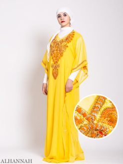 Canary Beaded Kaftan Abaya
