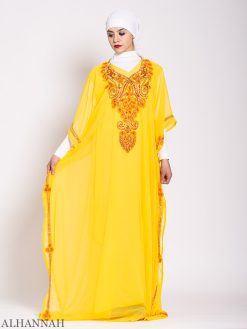 Canary Beaded Kaftan Abaya Beading