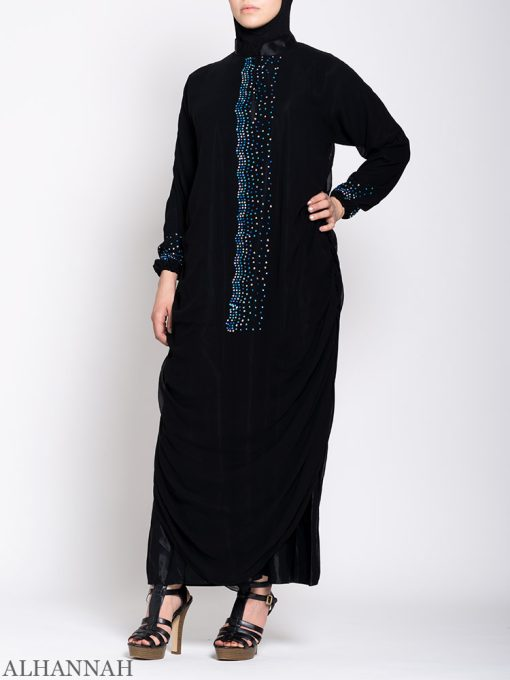 Abaya with Lapis Beads Cuffs