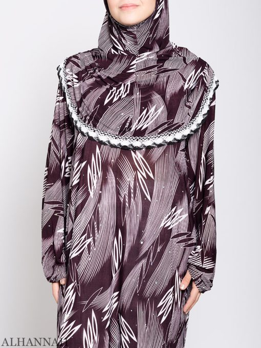 Maroon Abstract One Piece Prayer Outfit ps533 Nærbilde