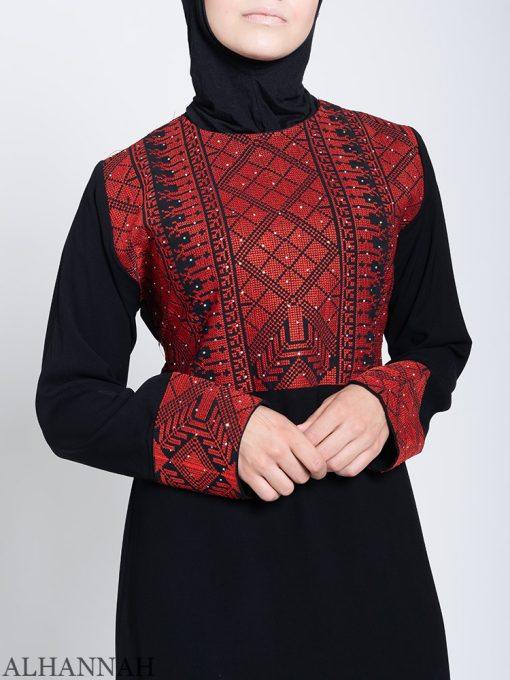 Fellaha Thobe with Red Embroidery Close Up