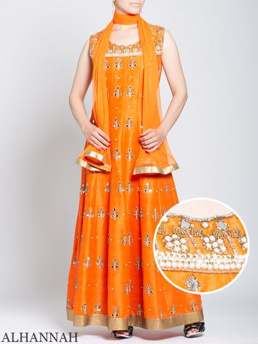 Pearl Embellished Sleeveless Orange Salwar Kameez sk1248
