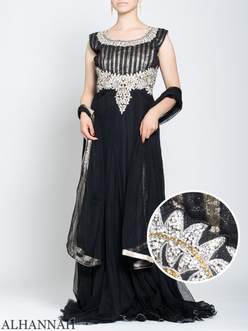 Rhinestone Daisy Sleeveless Black Mehndi Dress sk1246