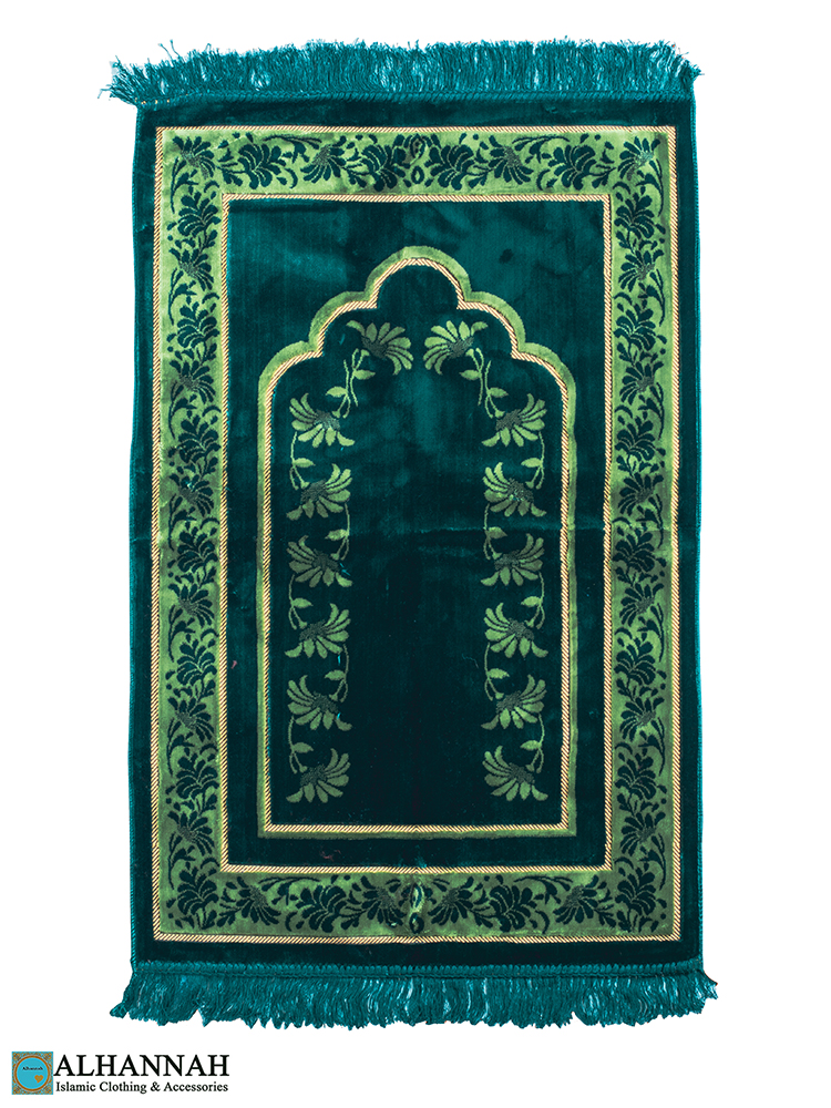 Turkish Prayer Rug Emerald Floral Border