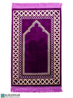 Plum Prayer Rug with Diamond Border 1