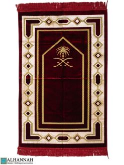 Prayer Rug Saudi Double Swords in Red