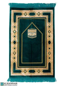 Turkish Prayer Rug Kaaba Motif Aqua