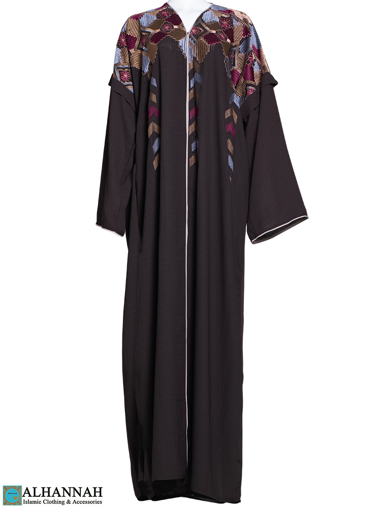 Embroidered Abaya Brown