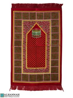 Prayer Rug with Kaaba Design in Red