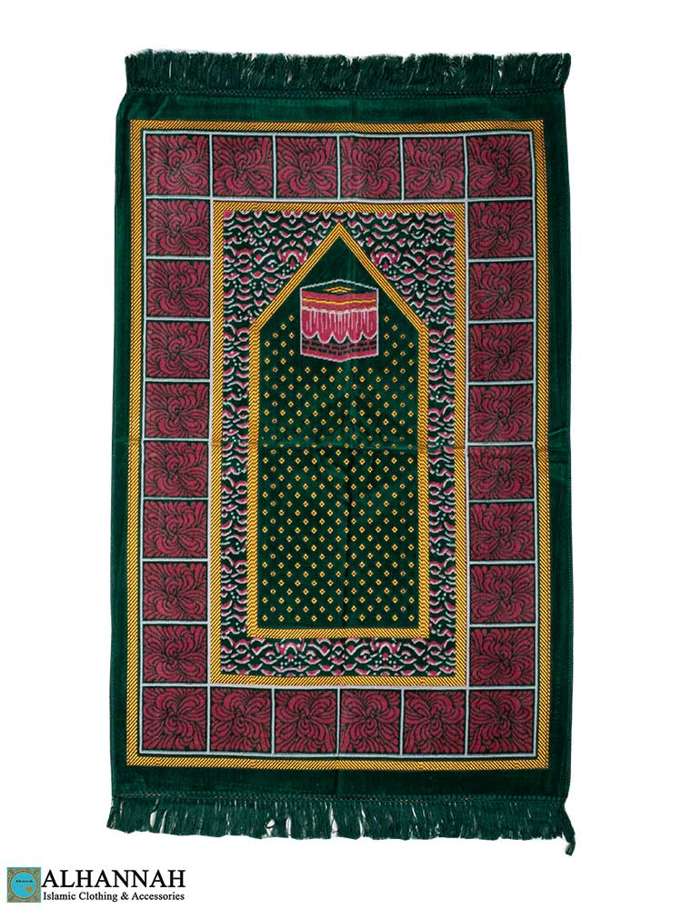 Prayer Rug with Kaaba in Green
