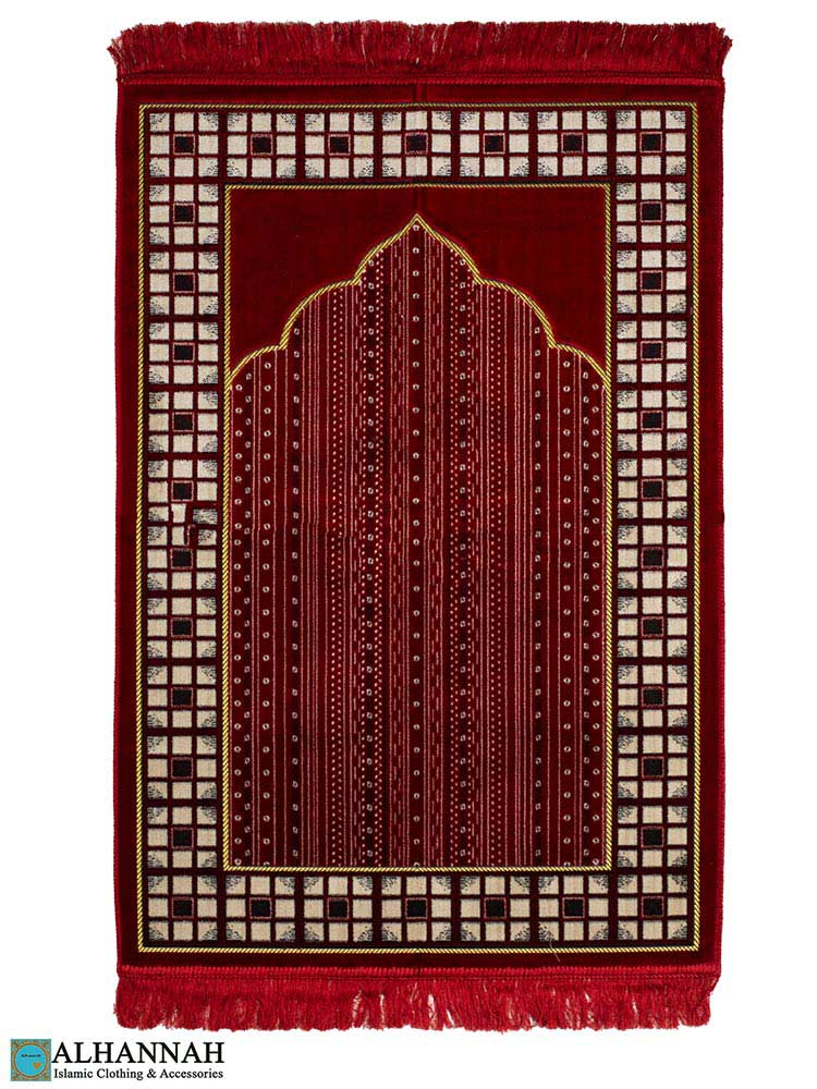 Prayer-Rug-in-Red-with-Geometric-Border