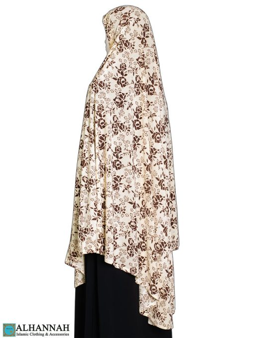 Extra Long Amirah Hijab in Toffee Rose Print